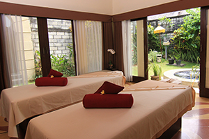 Massage bed at tranquil private spa villa